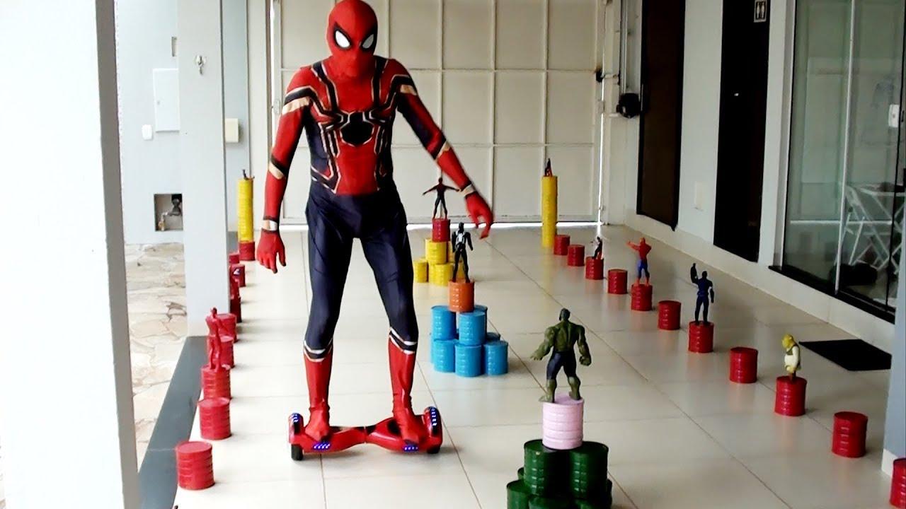 Papai Homem Aranha andou de Hoverboard! Spiderman Hoverboard!