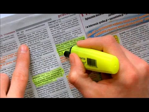 ASMR Newspaper page turning and highlighting. Crinkle paper, highlighter (no talking)