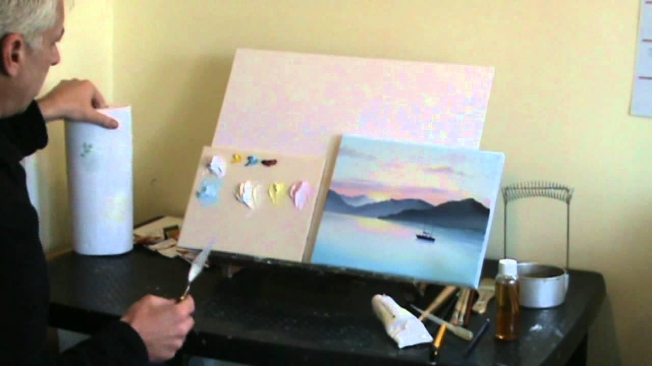 Live Online Art Classes Webinar - Oil Painting Sunset Pt1 - YouTube