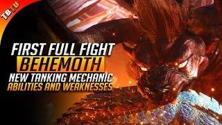 FIRST FULL BEHEMOTH FIGHT! TANKING MECHANIC AND WEAKNESSES! Monster Hunter World DLC