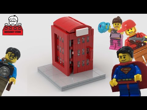 LEGO MOC#31 British London Phone Booth With Superman Stop Motion Movie