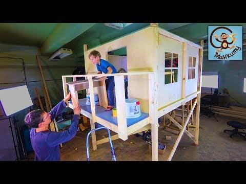 DIY 袦邪薪泻懈褌褍 写械褌懈 褋褌褉芯褟褌 2 褝褌邪卸薪褘泄 写芯屑 写谢褟 写械褌械泄 / DIY playhouse for kids