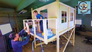 DIY Манкиту дети строят 2 этажный дом для детей / DIY playhouse for kids