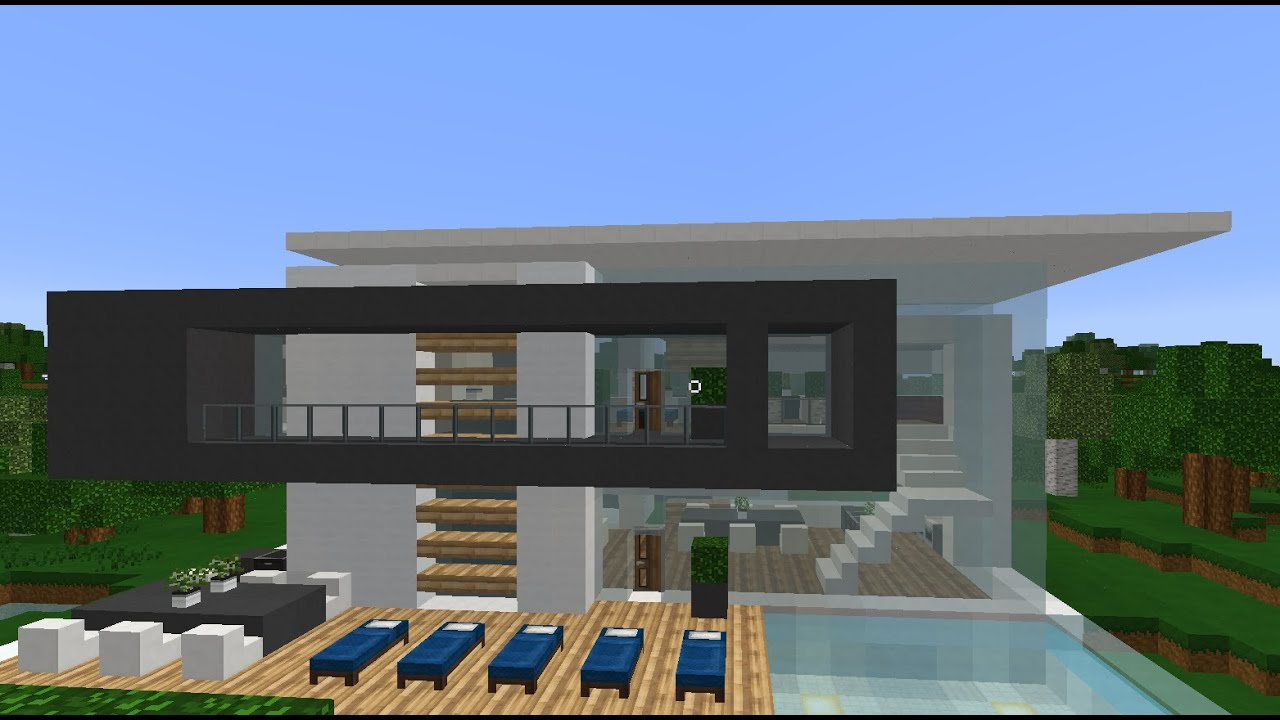 Minecraftamazing modern house by the lake YouTube