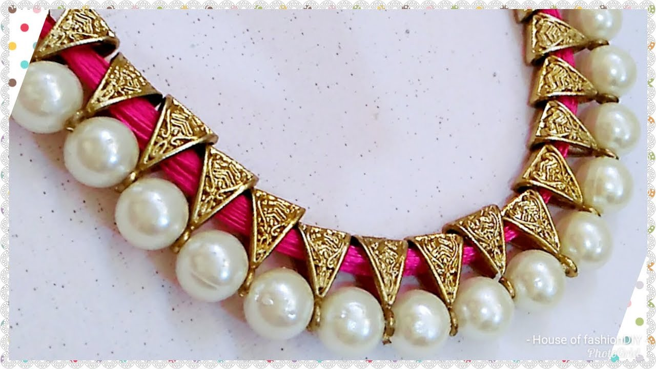 How To Make Antique Silk Thread Necklace Pearl Jewellery