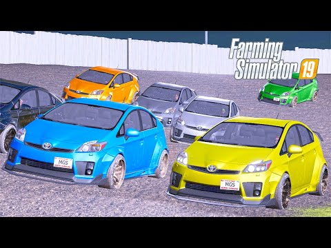WE RACE WITH SUBSCRIBERS IN A PRIUS! (8 PRIUS CARS RACE ON A TRACK) | FS19