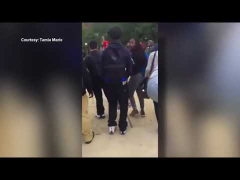 RAW: Outside student video of large fight at Arsenal Tech High School