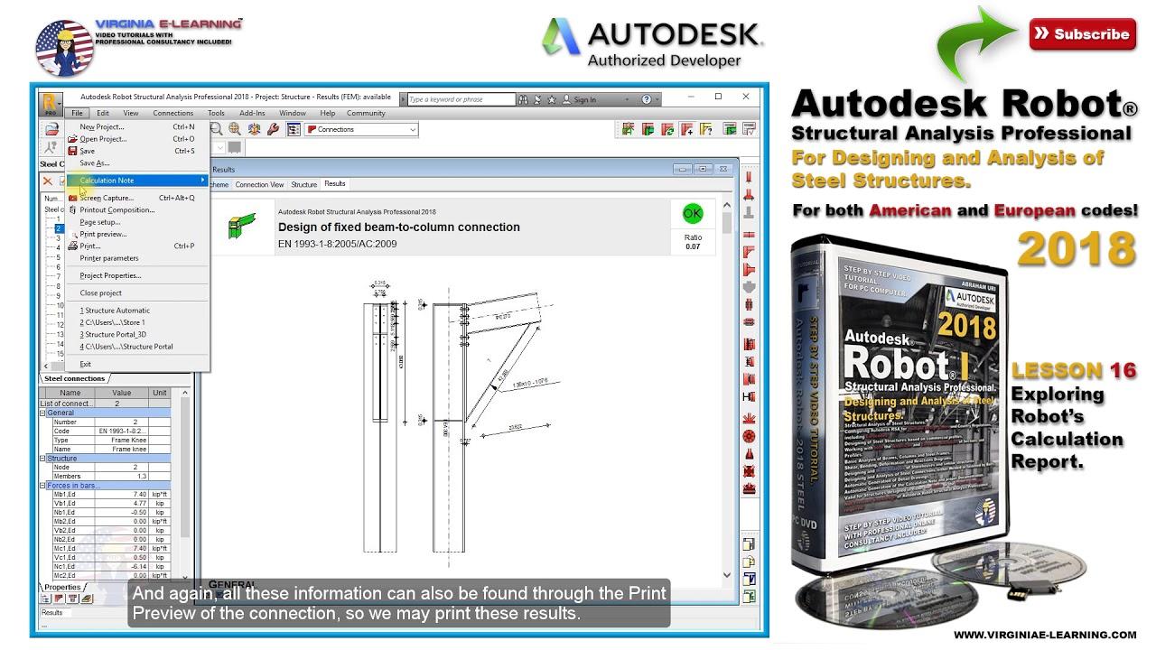 Robot Structural 2018 Tutorial   Steel I   Exploring Robot's Calculation  Report