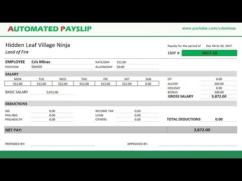 How To Create An AUTOMATED PAYSLIP In Excel