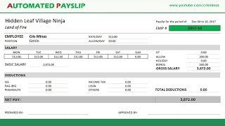 How To Create An Automated Payslip In Excel Youtube