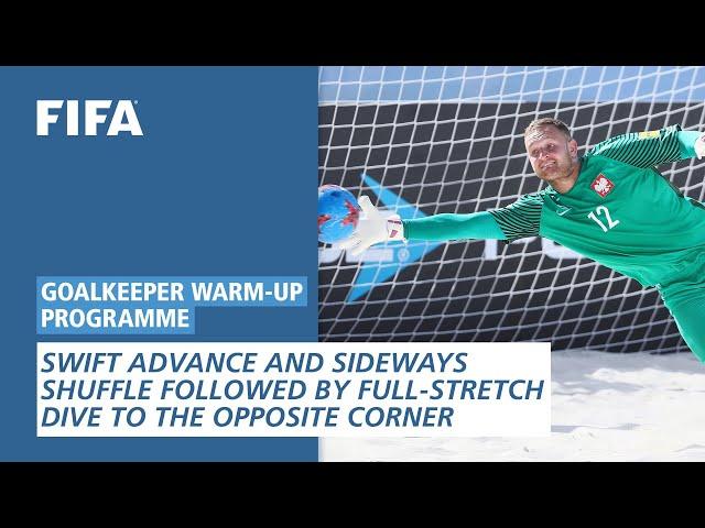 Swift advance and sideways shuffle followed by full-stretch dive [Goalkeeper Warm-Up Programme]