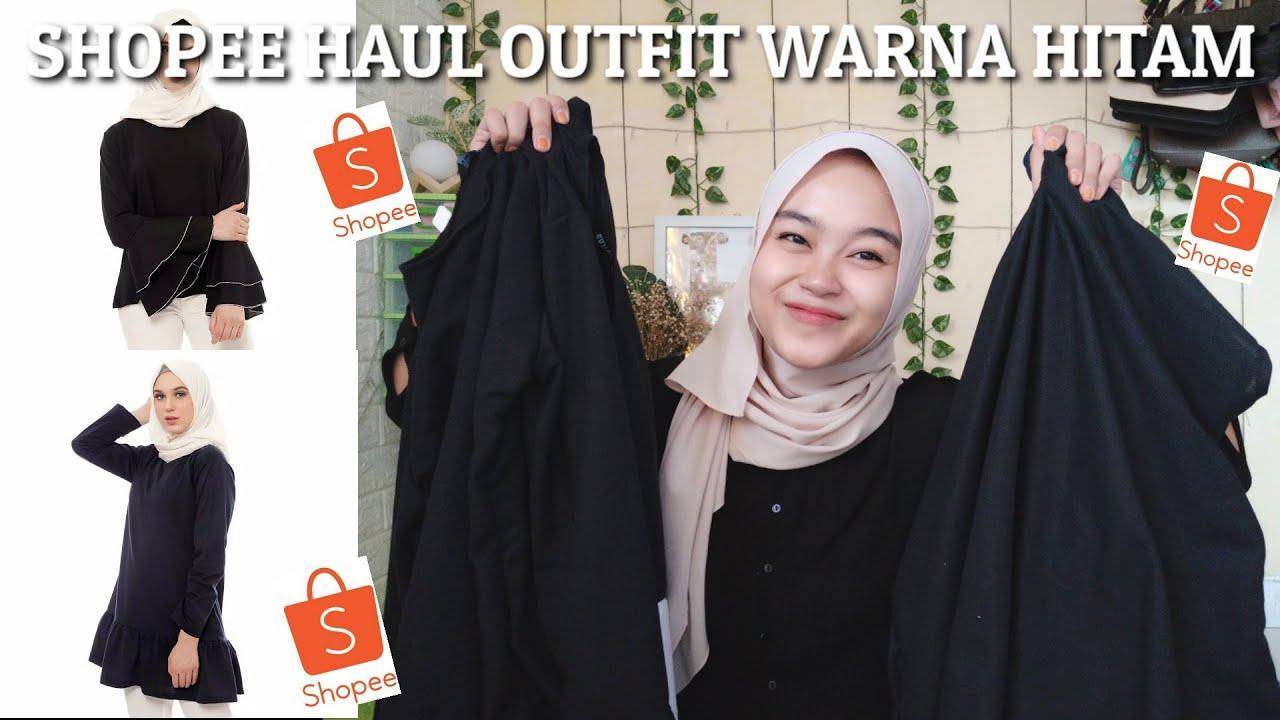 SHOPEE HAUL OUTFIT WARNA HITAM || Nana channel