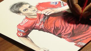 Steven Gerrard Pen Drawing - Liverpool FC - DeMoose Art