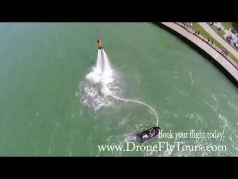 Fly Board on the DETROIT RIVER Drone GOPRO 4 HD Video!