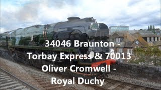 70013 Oliver Cromwell -  Royal Duchy & 34046 Braunton - Torbay Express 8/9/13