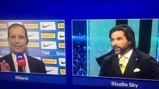 Massimiliano Allegri litiga con Lele Adani dopo Inter Juve 1 a 1