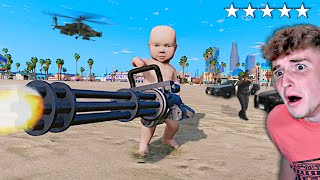 Playing GTA 5 As A BABY.. (GTA 5 MODS)