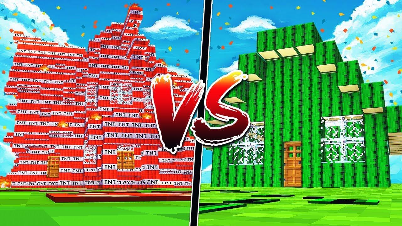 tnt minecraft house vs cactus minecraft house! - youtube