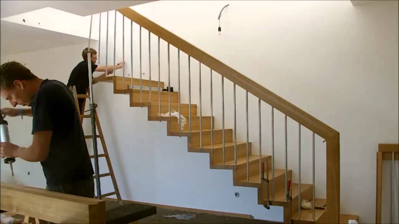 montage einer treppe mit setzstufen youtube. Black Bedroom Furniture Sets. Home Design Ideas