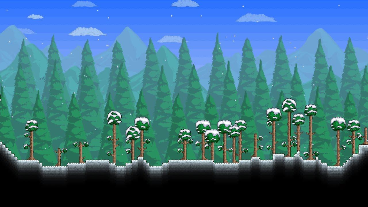 Snow Falling Background Wallpaper Terraria Snow Theme Cover Youtube