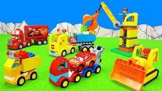Excavator, Fire & Dump Trucks, Crane & Cars   Construction Toy Vehicle for Kids, Lego Duplo Unboxing