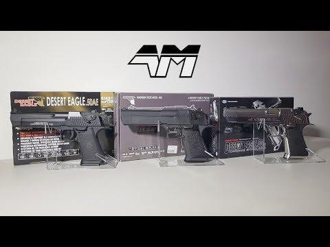 DESERT EAGLE Comparison Video / Tokyo Marui vs Cybergun WE vs Cybergun KWC