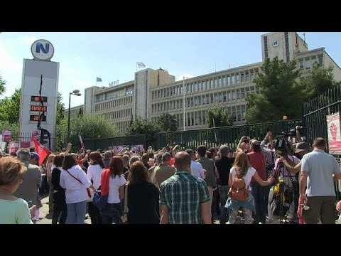 Greek public broadcaster employees storm building