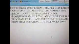 e0001 error solution for fifa(11,12,13,14)