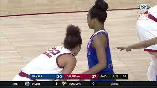 Oklahoma vs Kansas Women's Basketball Highlights
