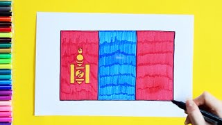 How to draw and color National Flag of Mongolia