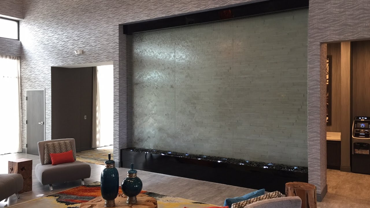 Custom Water Wall-Indoor Glass Lobby Waterfall-Holiday Inn Houston ...