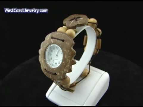 Coconut Shell and Wood Bead Fashion Stretch Watch