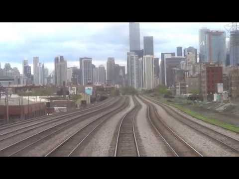 REAR VIEW - Amtrak's Empire Builder - Chicago to Glenview, IL