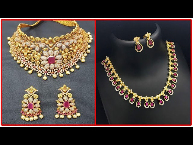 Latest one Gram Gold Necklace&Matching Earrings designs | gold Choker Stone Necklace designs | T.F.