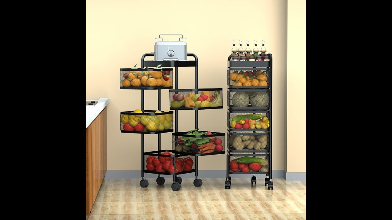 HOME CUBE 5 Layer Kitchen Rotating Trolley Portable Storage Rack Square Design Fruits Vegetable Rack