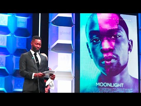 Tarell Alvin McCraney  accepts GLAAD Media Award for 'Moonlight'