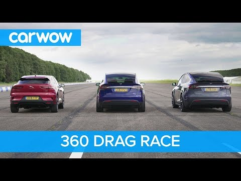 Tesla Model X 100D & P100D vs Jaguar I-Pace – 360° DRAG & ROLLING RACE
