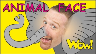 Repeat youtube video Animal Face for Kids + MORE | Stories for Children | Steve and Maggie from Wow English TV