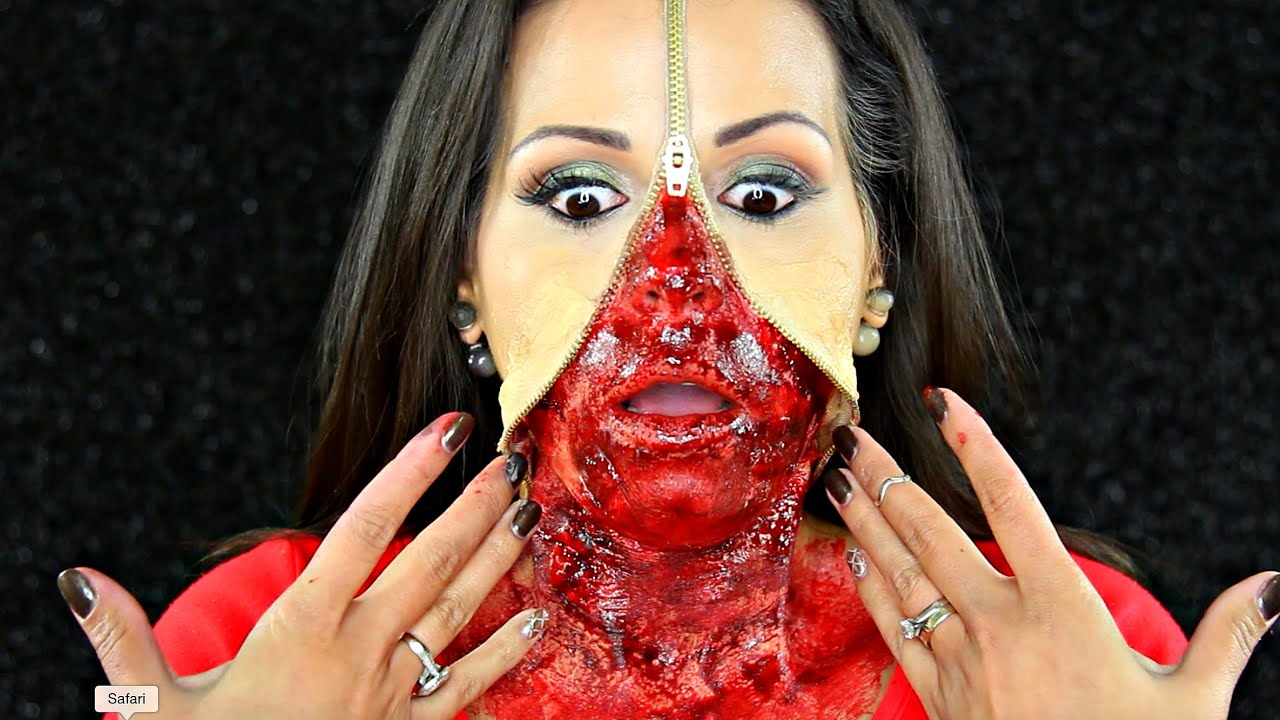 sc 1 st  YouTube & ZIPPER FACE Gory Halloween FX Makeup Tutorial | JassiraBeauty - YouTube