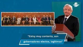 """Sobre la reunión con gobernadores electos de Morena, el presidente López Obrador aseguró que conversaron sobre problemas en los estados y de estrategias de trabajo: """"Fue un buen encuentro. Voy a reunirme también con los cuatro gobernadores electos restantes; el de Tamaulipas, Querétaro, la de Chihuahua y San Luis"""""""