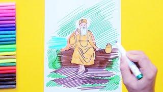 How to draw and color Guru Nanak Dev Ji
