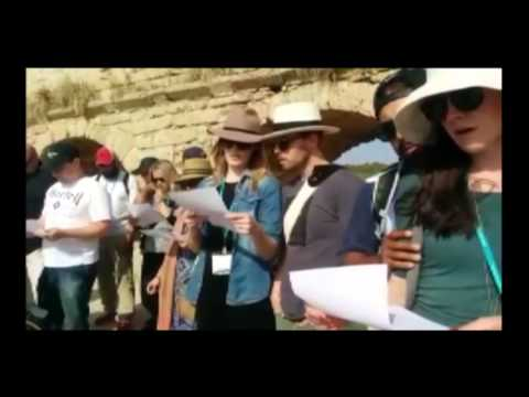 Honeymoon Israel couples sing song written by Jewish heroine Hannah Senesh   Credit: Judy Maltz