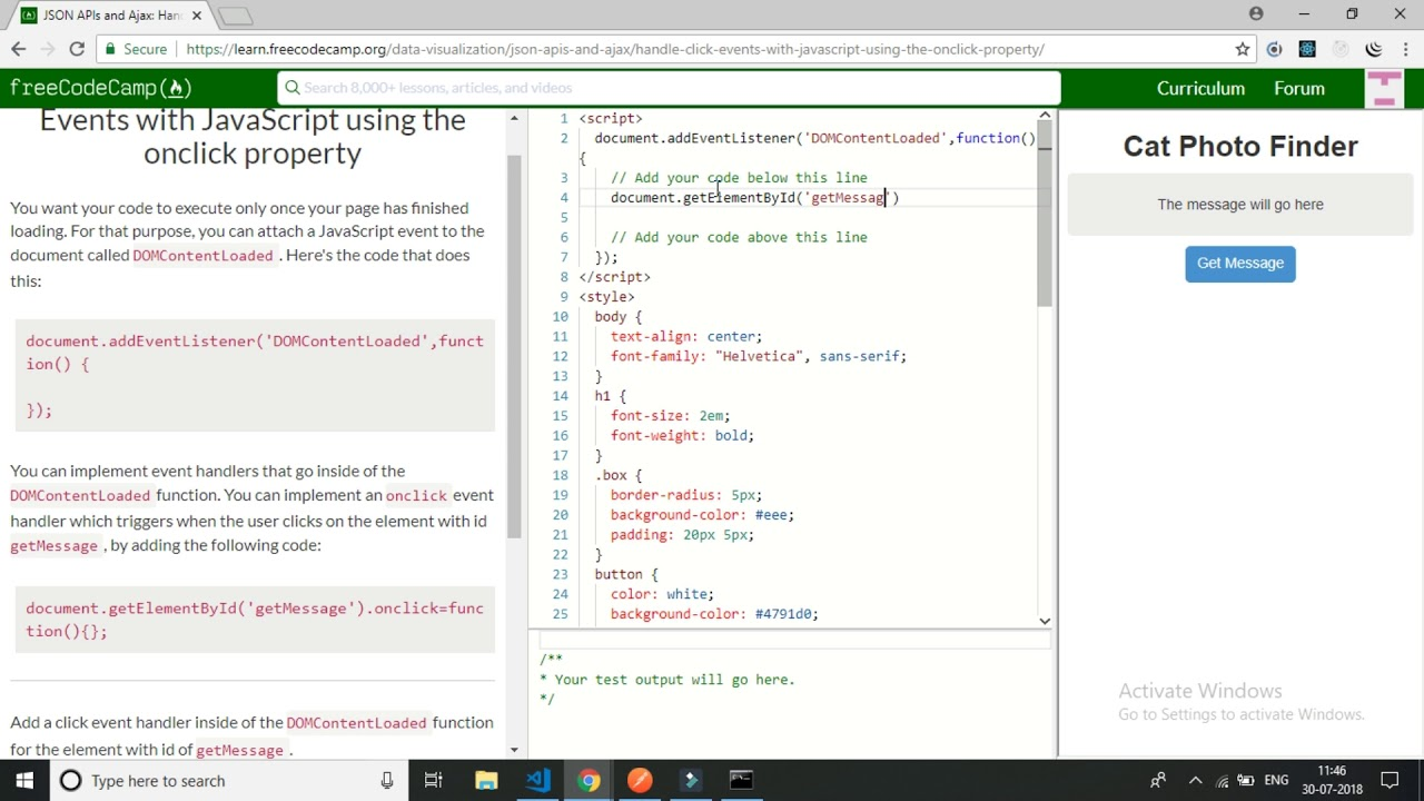 freecodecamp-JSON APIs and Ajax Handle Click Events with JavaScript using  the onclick property