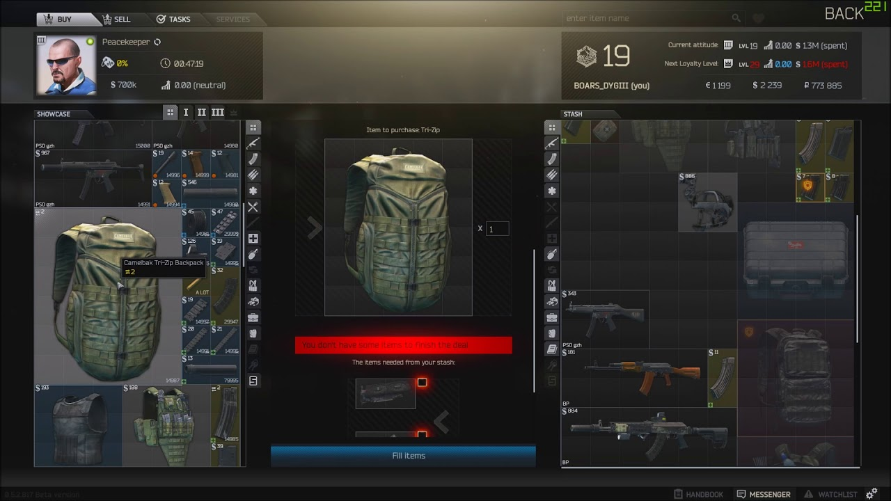 Escape From Tarkov Peacekeeper Level 3 Trader inventory Patch 0 5 2 817
