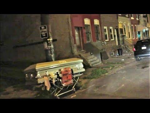 WEIRD SIGHT AT NIGHT IN PHILADELPHIA HOOD