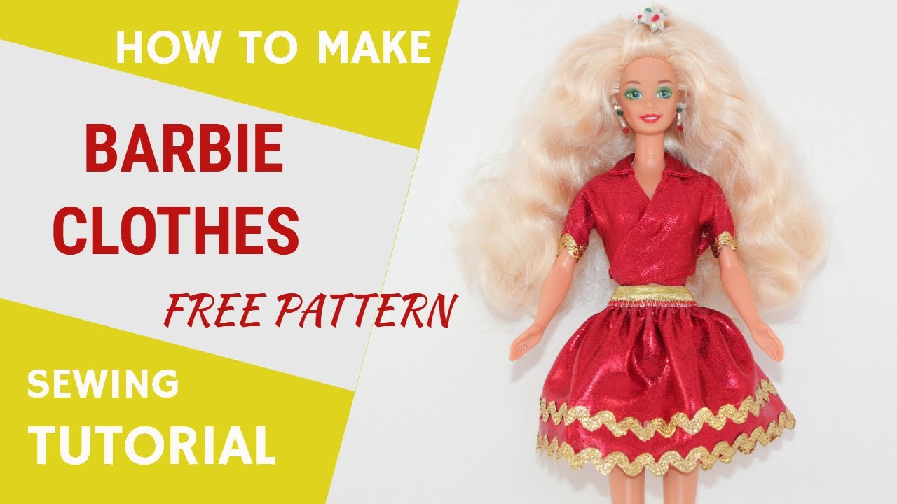 Diy Barbie Clothes Step By Step Sewing Tutorial Plus Free Printable Patterns In Pdf And Svg Youtube