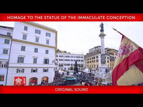 Pope Francis - Rome - Piazza di Spagna - Homage to the Statue of the Immaculate Conception 2018-12-0