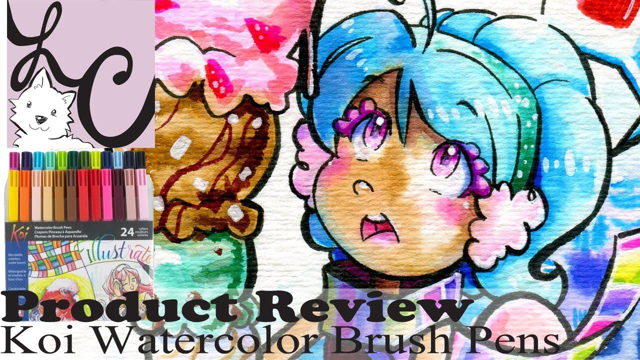 art supply/product review, sakura koi watercolor brush pens - 24