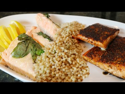 Salmon Two Ways With Israeli Couscous \u0026 Roasted Brussels Sprouts