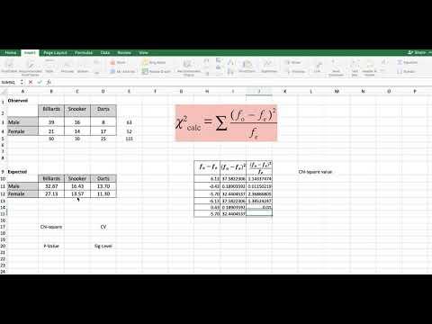 IB Math Studies SL IA - Using Excel for Chi Square Test